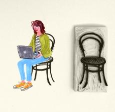 op een gestempelde stoel